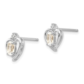 14k White Gold White Topaz and Diamond Heart Post Earrings