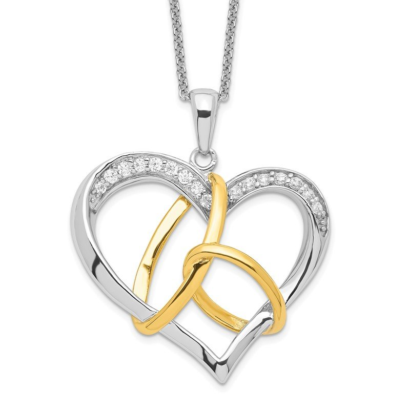 Quality Gold Sterling Silver & Gold-plated CZ To Have And To Hold 18in Necklace