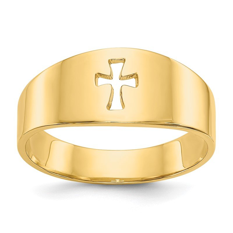 Quality Gold 14k Polished Cut-out Cross Ring