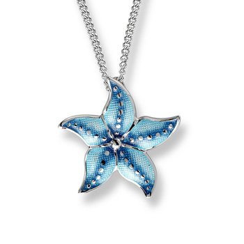 Blue Starfish Necklace.Sterling Silver