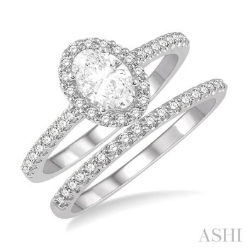 oval shape diamond wedding set