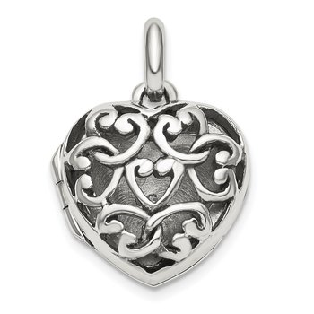 Sterling Silver Antiqued Filigree Top Polished Back 16mm Heart Locket