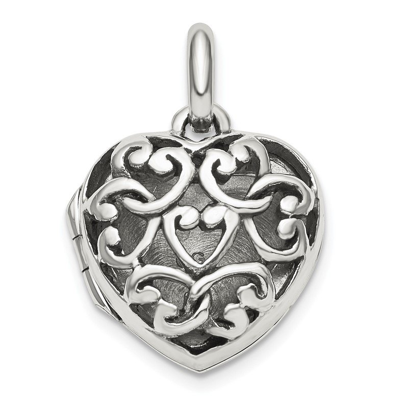 Quality Gold Sterling Silver Antiqued Filigree Locket Pendant