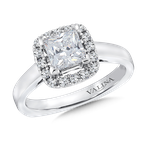 Valina Cushion shape halo mounting .25 ct. tw., 1 ct. Princess cut center.