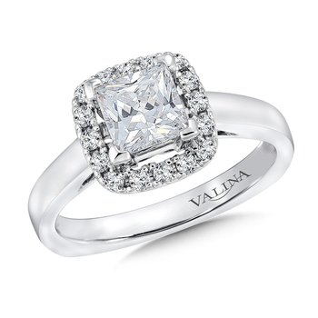 Cushion shape halo mounting .25 ct. tw., 1 ct. Princess cut center.