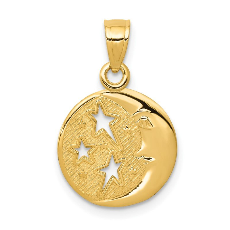 Quality Gold 14k Polished Flat-Backed Moon with Three Stars Pendant