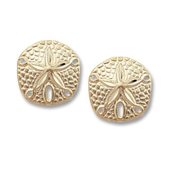 14kt Yel Sanddollar Post Earrings
