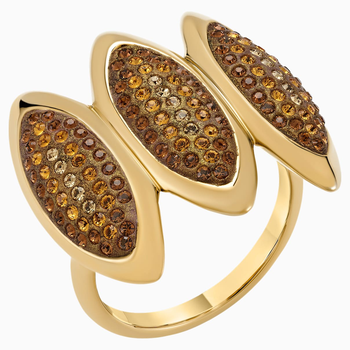 Evil Eye Cocktail Ring, Brown, Gold-tone plated
