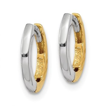 14k Two-tone Mini 1.35mm Round Hinged Hoop Earrings