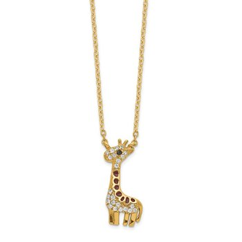 Cheryl M SS Gold Plated Black/White CZ Enamel Giraffe Necklace