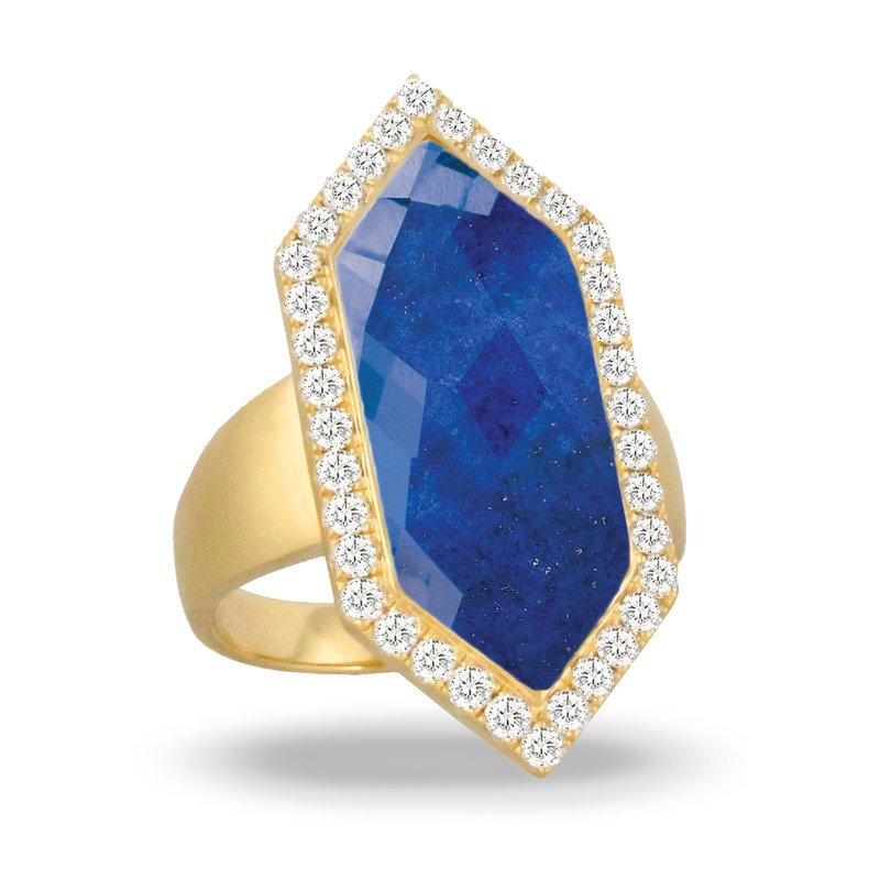 Doves Royal Lapis Diamond Halo Ring 18KY