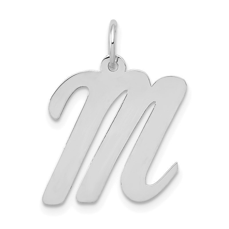 Quality Gold 14k White Gold Large Script Letter M Initial Charm