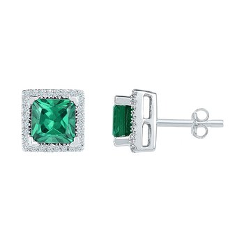 10kt White Gold Womens Princess Lab-Created Emerald Solitaire Stud Earrings 1-3/4 Cttw