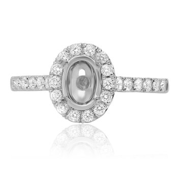 White Gold Single Halo Engagement Setting