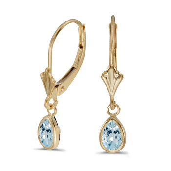 14k Yellow Gold Pear Aquamarine Bezel Lever-back Earrings