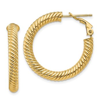 14k 4x20mm Twisted Round Omega Back Hoop Earrings