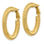 Quality Gold 14k 4x20mm Twisted Round Omega Back Hoop Earrings
