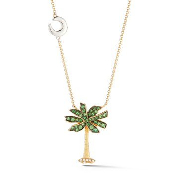 14KY PALMETTO TREE NECKLACE WITH 6 DIAMONDS 0.03CT & 34 GREEN GARNET 0.44CT, SMALL MOON DETAIL ON CHAIN 18 INCHES