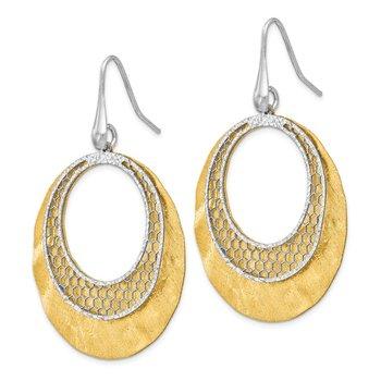 Leslie's Sterling Silver Yellow and White D/C Scratch-finish Earrings
