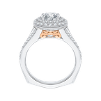 18K Two-Tone Gold Round Diamond Double Halo Engagement Ring with Split Shank (Semi-Mount)