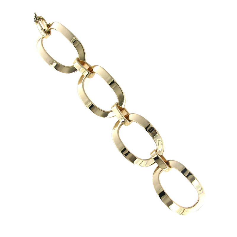Roberto Coin  #26027 Of 18Kt Yellow Gold Large Oval Link Bracelet