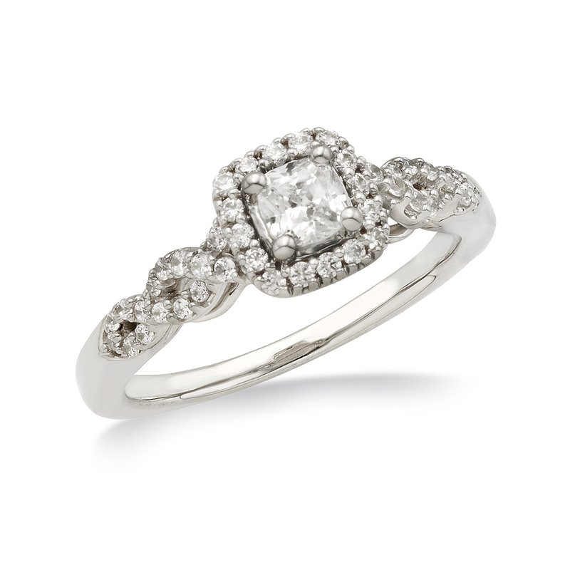 White gold & diamond cushion-cut engagement