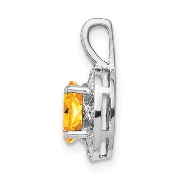 Sterling Silver Rhodium-plated Diam. & Citrine Pendant
