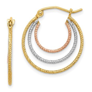 Sterling Silver Rhod-plated Yellow/Rose Vermeil 1.5mm Triple Hoop Earrings