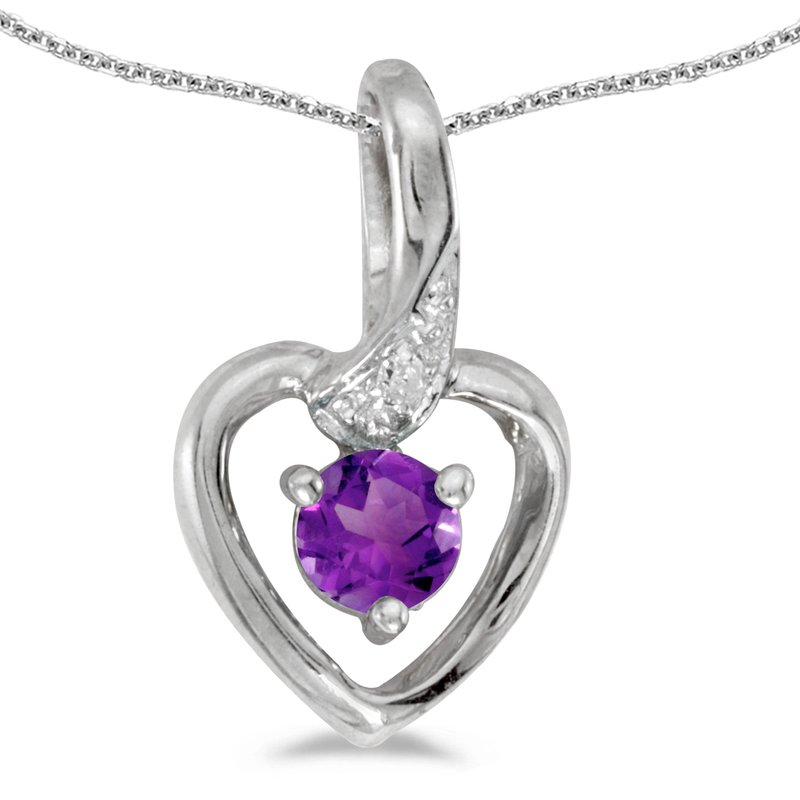 Color Merchants 10k White Gold Round Amethyst And Diamond Heart Pendant