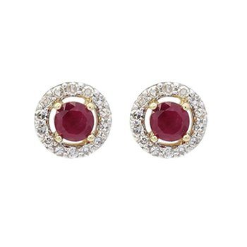 Diamond Halo and Ruby Prong Set Earrings in 10K White Gold (2/250 ct. tw.)