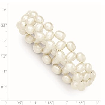 6-7mm White Rice Freshwater Cultured Pearl Stretch Bracelet