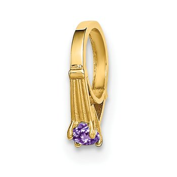 14K 3D Ring with Light Purple CZ Charm