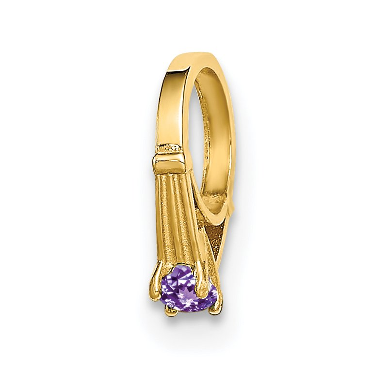 Quality Gold 14K 3D Ring with Light Purple CZ Charm