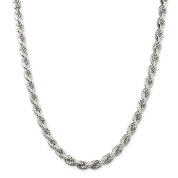 Sterling Silver 7mm Diamond-cut Rope Chain