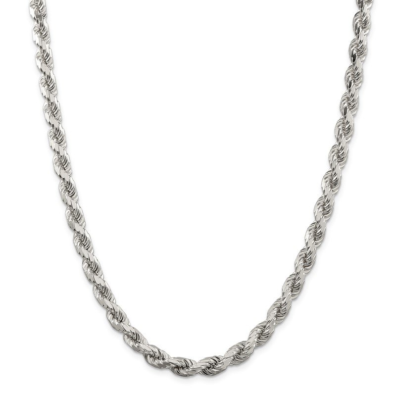 Quality Gold Sterling Silver 7mm Diamond-cut Rope Chain