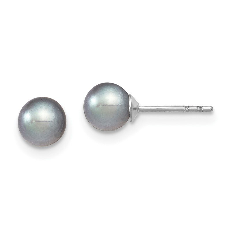 Quality Gold SS Rhodium-plated 5-6mm Grey FW Cultured Round Pearl Stud Earrings