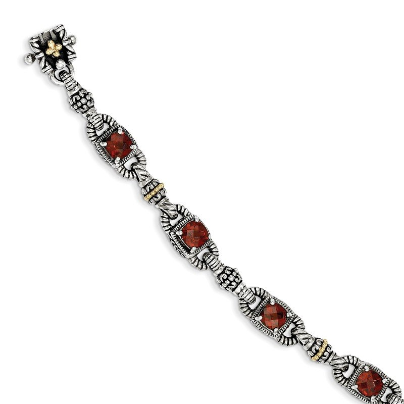 Shey Couture Sterling Silver w/14k Cushion-cut Garnet Bracelet