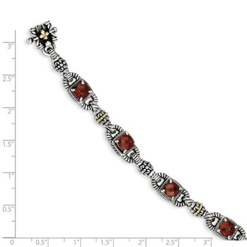 Sterling Silver w/14k Cushion-cut Garnet Bracelet