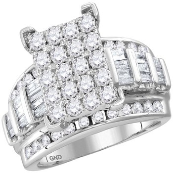 10kt White Gold Womens Round Diamond Cindys Dream Cluster Bridal Wedding Engagement Ring 2.00 Cttw - Size 10