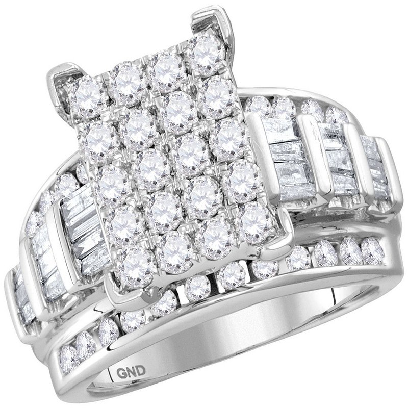 Kingdom Treasures 10kt White Gold Womens Round Diamond Cindys Dream Cluster Bridal Wedding Engagement Ring 2.00 Cttw - Size 10