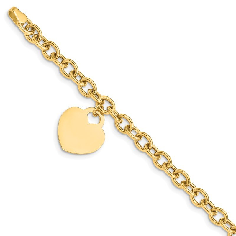 Lester Martin Online Collection 14K Heart Charm Hollow Bracelet