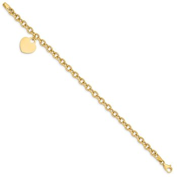 14K Heart Charm Hollow Bracelet