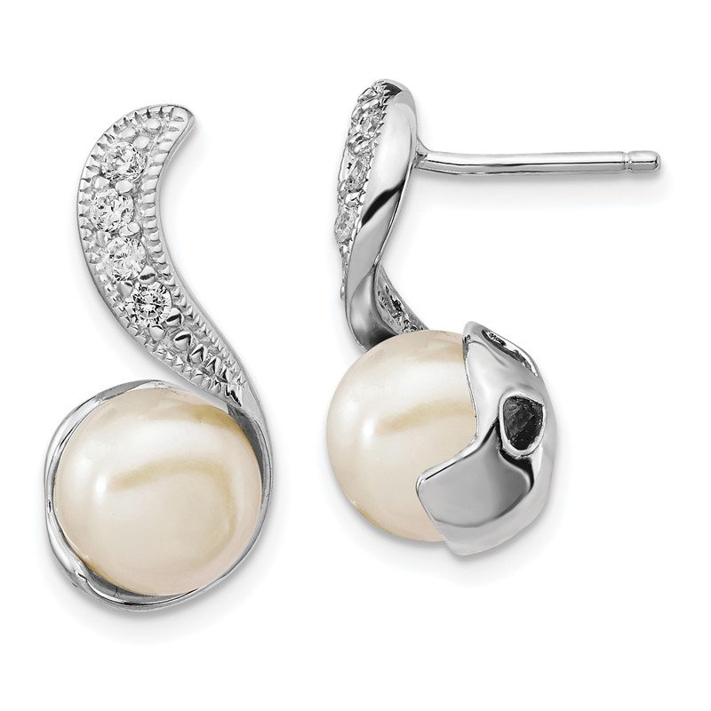 Cheryl M Cheryl M Sterling Silver Rhod Plated CZ & FWC Pearl Swirl Post Earrings