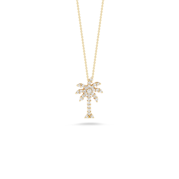 #23046 Of 18Kt Gold Large Palm Tree Pendant With Diamonds