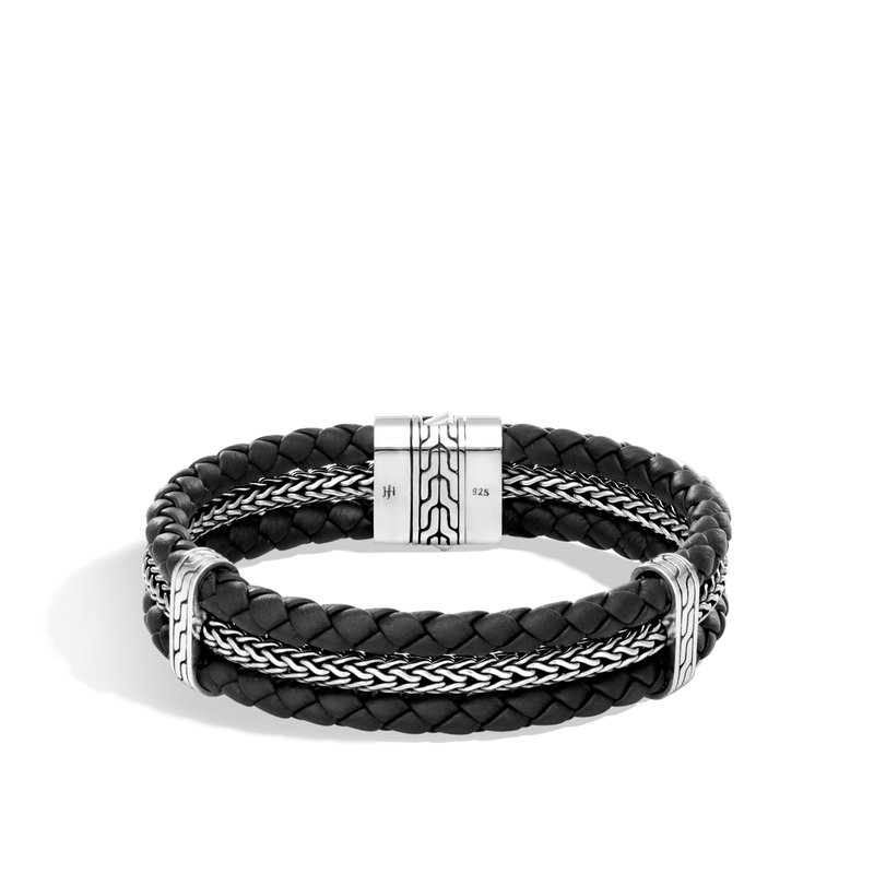 John Hardy Classic Chain Triple Row Bracelet in Silver and Leather