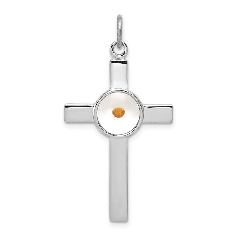 Quality Gold Sterling Silver Rhodium-plated Polshd & Epxy Cross w/Mustard Seed Pendant