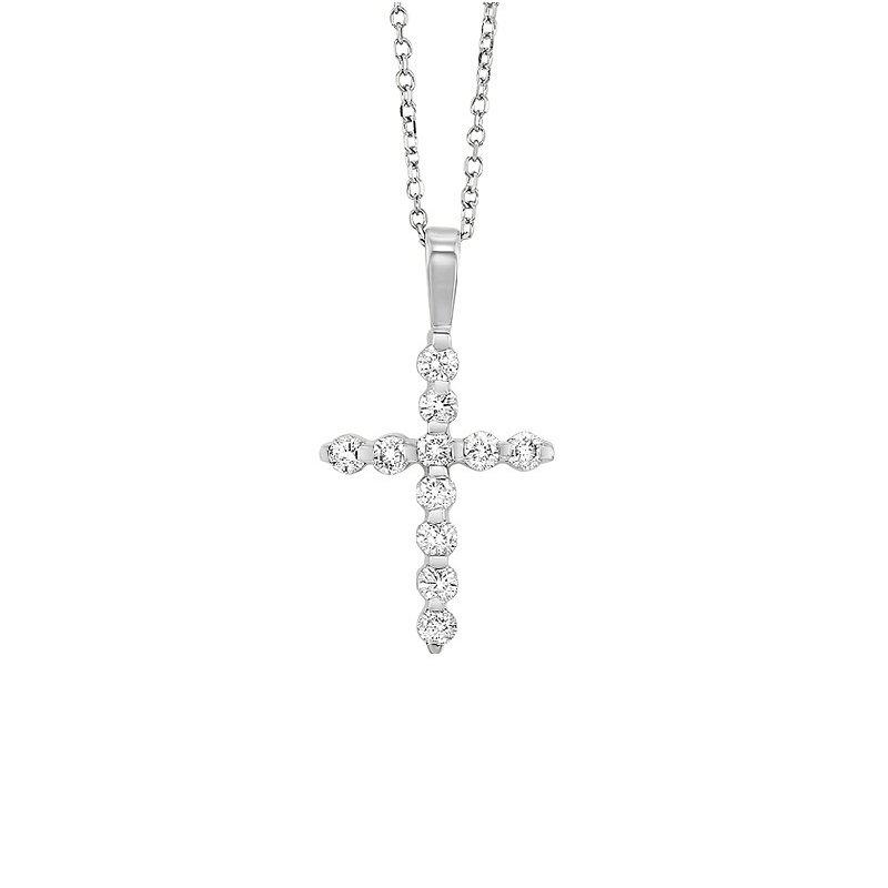 Gems One Diamond Classic Cross Pendant in 14k White Gold (1/2 ctw)