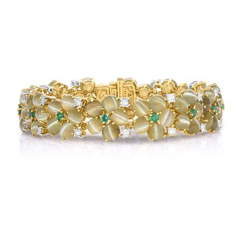 18kt Gold & Platinum Cat's-Eye Chrysoberyl Bracelet