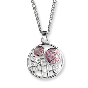 Fine Enamels Silver Mackintosh Rose Necklace-Pink