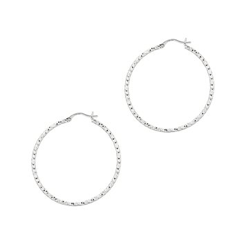 Silver 2x40MM Diamond Cut Earring